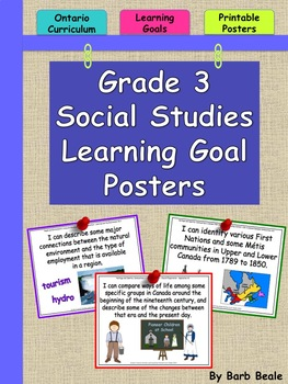 Grade 3 Social Studies Learning Goals Posters - 2013 Ontario Curriculum