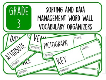 Grade 3 Sorting and Data Management Word Wall Vocabulary Organizers