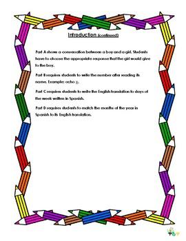 Grade 3 Spanish Exam/ Revision