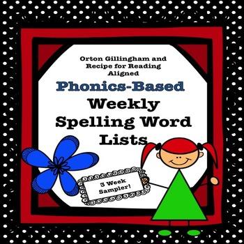 Freebie Phonics Based Spelling Lists