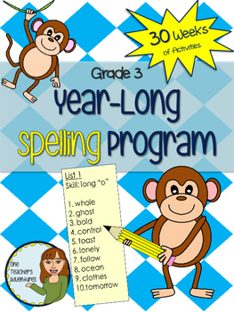 Grade 3 Spelling Program - 30 weeks of word lists and activities