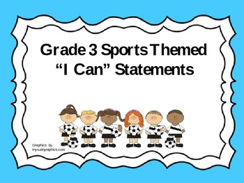 """Grade 3 Sports Themed """"I Can"""" Statements"""