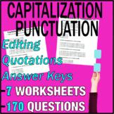 ELA Worksheets   Capitalization & Punctuation   Grade 3 Test Prep