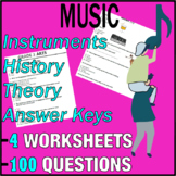 Music Worksheets   Instruments, History, Theory Questions