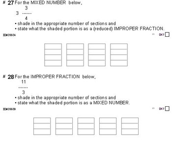 Grade 4 FRACTIONS UNIT 3: [MIXED/IMPROPER frac] (4 workshe