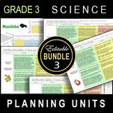 Grade 3 UNIT PLANS / Editable Bundle / SCIENCE / ALL CLUSTERS / Manitoba