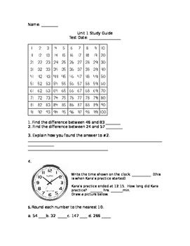 Grade 3 Unit 1 EDM New Edition Study Guide