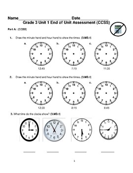 Grade 3 Unit 1: Standard Based Assessment geared towards Everyday Math Units