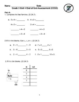 Grade 3 Unit 4: Standard Based Assessment geared towards Everyday Math Units