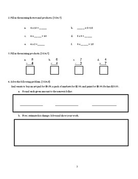 Grade 3 Unit 7: Standard Based Assessment geared towards Everyday Math Units