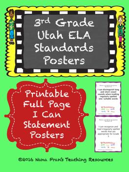 Grade 3 Utah ELA I Can Statement Posters