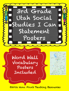 Grade 3 Utah Social Studes I Can Statement Posters and Word Wall Posters