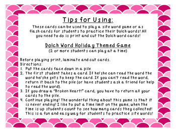 Grade 3 Valentines Day Dolch Word Game