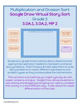 Grade 3 Virtual Story Problem Sort for Google Chrome - 3.OA.1,2