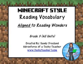 Grade 3 Vocabulary Reading Wonders Minecraft Style