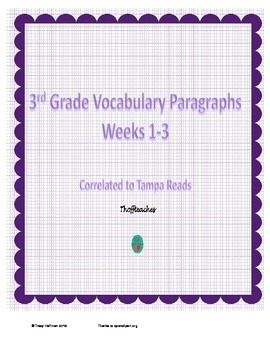 Grade 3 Vocabulary Weeks 1-3
