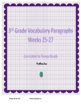 Grade 3 Vocabulary Weeks 25-27