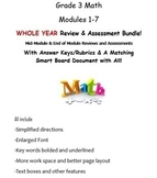 Grade 3, WHOLE YEAR Modules 1-7, Mid & End of Mod Reviews & Assessments BUNDLE!