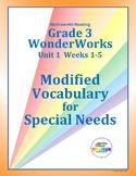Grade 3 WonderWorks Unit 1  Weeks 1-5   Modified Vocabular