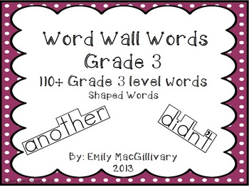 Grade 3 Word Wall: Boxed Font (110+ words)