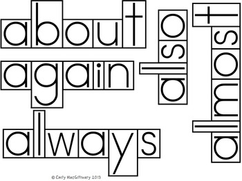 Grade 3 Word Wall: Boxed Font with Line between Letters (110+ words)