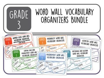 Grade 3 Word Wall Vocabulary Organizers Bundle (Bonus set included!)