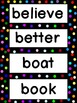 Grade 3 Word Wall Words - Colorful Polka dots on Black Frame