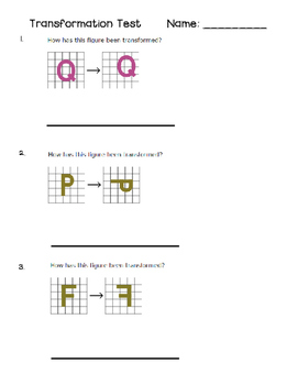 Grade 3 and 4 Math Test: Reflections, Rotations, Translations