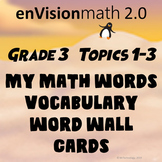 Grade 3 enVision Math 2.0 Topic 1-3 Vocabulary Math Word Wall Cards