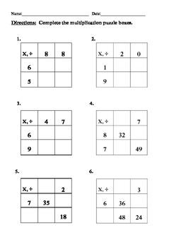 grade 3 multiplication division puzzle boxes 4 worksheets everday math unit 7. Black Bedroom Furniture Sets. Home Design Ideas