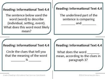 Task Cards - EDITABLE Text-Based Questions for ANY NONFICTION TEXT - Grade 4