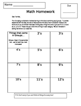 Grade 3/4 Introductory Multiplication Homework--Common Core Aligned
