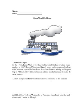 Grade 3/4 Math Word Problems with Social Studies Content