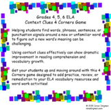 Grade 4, 5, 6 ELA Context Clues 4 Corners Game