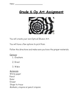 Grade 4,5,6 Op Art Task