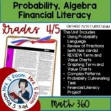 Grade 4/5 Probability, Algebra & Financial Unit 8 (Ontario Math Curriculum 2020)