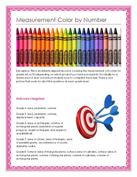 Grade 4-8 Measurement Colour by Number