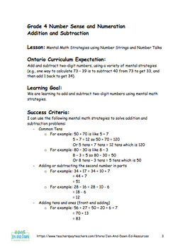 Grade 4 Addition and Subtraction Mental Math Strategies Lesson