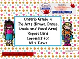 Grade 4 Arts (All 4 Arts) Report Card Comments, ALL TERMS!