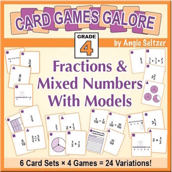 Grade 4 MATH CARD GAMES GALORE BUNDLE: Fractions & Mixed Numbers With Models