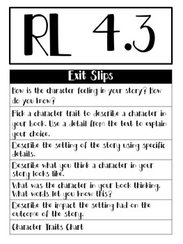 Grade 4 CCSS Alligned Exit Slips- Reading Literature