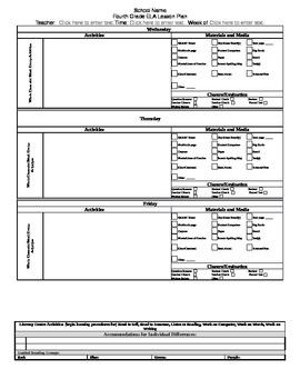 Grade 4 CCSS ELA Lesson Plan Template