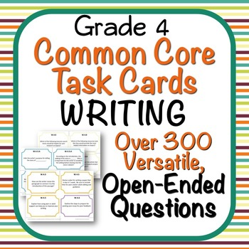 Task Cards - EDITABLE Open-Ended Writing Tasks - Grade 4