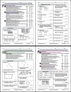 Grade 4 CCSS Math Self-Assessment and Review Packet ~ Form C