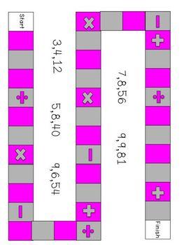 Grade 4 CCSS Math Vocabulary Board Games