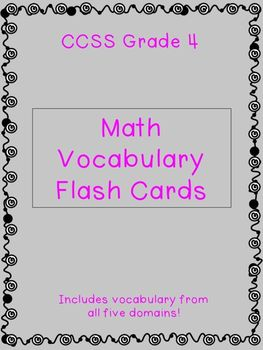 Grade 4 CCSS Math Vocabulary Flash Cards