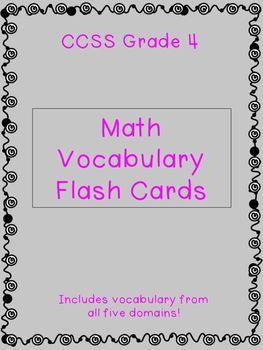 Grade 4 CCSS Math Vocabulary Flash Cards