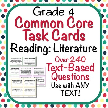 Task Cards - EDITABLE Text-Based Questions for ANY TEXT - Grade 4