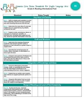 Grade 4 Common Core Checklist