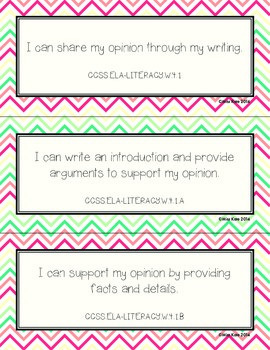 """Grade 4 Common Core """"I Can"""" Statements for Writing"""